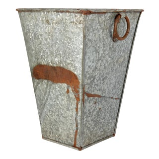 Vintage French Galvanized Zinc Tall Planter For Sale