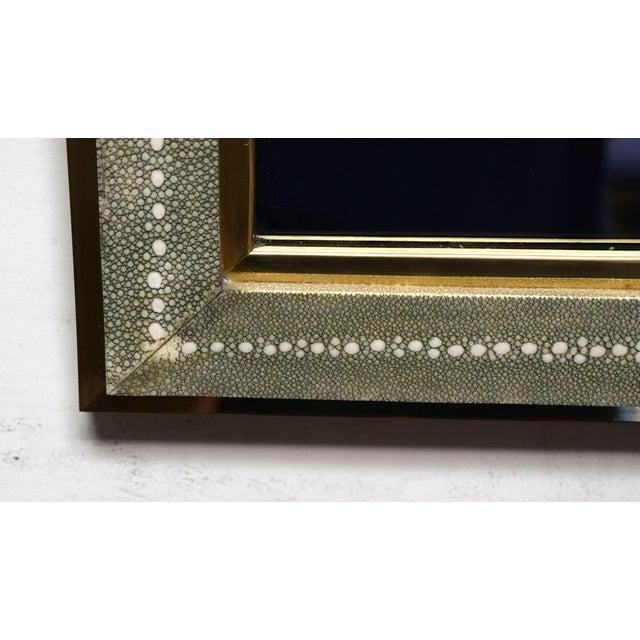 Celadon Celadon Shagreen Wall Mirror For Sale - Image 8 of 10