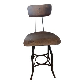19th Century Vintage French Drafting Wood and Iron High Stool For Sale
