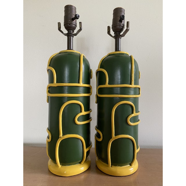 Late 1940s Pottery Ceramic Lamps by Ugo Zaccagnini - a Pair For Sale - Image 11 of 11
