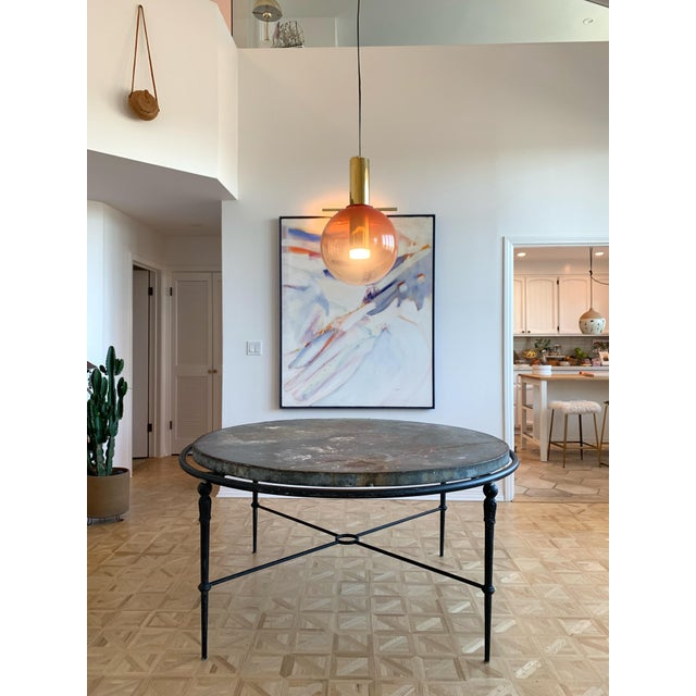"""Zinc & Wrought Iron Dining Table 60"""" For Sale In Los Angeles - Image 6 of 6"""