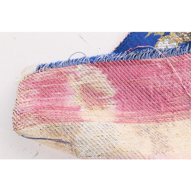 Gold Embroidered Floral Silk Brocade Textile - Image 6 of 7