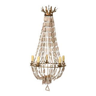 Italian Wooden Bead and Steel Chandelier For Sale