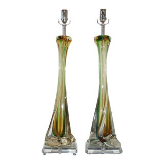 Vintage Murano Sommerso Glass Table Lamps Green Amber For Sale