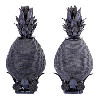 Blue Glazed Pottery or Terracotta Lidded Pineapple Urns - A Pair For Sale