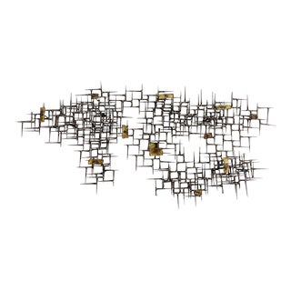 Abstract Nail and Bronze Welded Wall Sculpture For Sale
