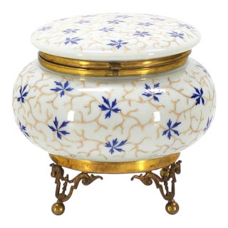 Large Enameled Painted Floral Pattern Art Glass Round Dresser Box For Sale
