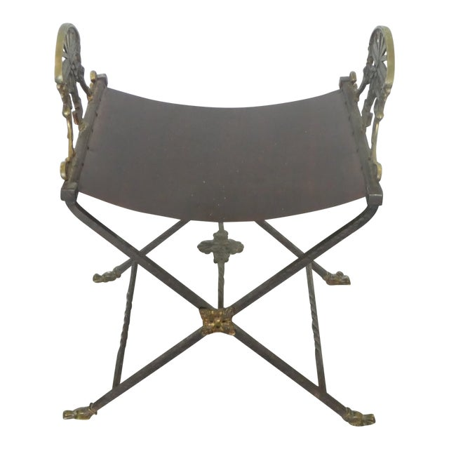 1920's Oscar Bach Style Mediterranean Iron and Brass Stool For Sale