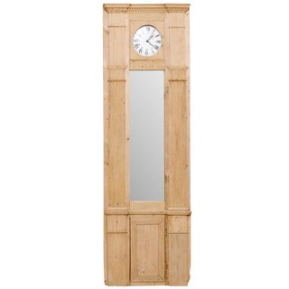 French 19th Century Tall Architectural Wood Panel With Long Mirror and Clock For Sale
