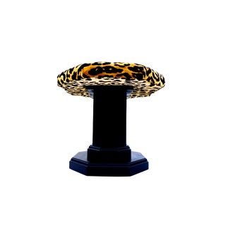 Vintage Regency Leopard Velvet Low Stool For Sale