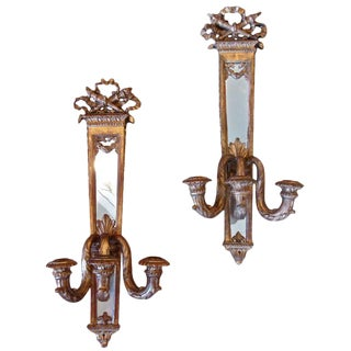 Late 19th Century Traditional Gilt Candle Mirrored Sconces - a Pair