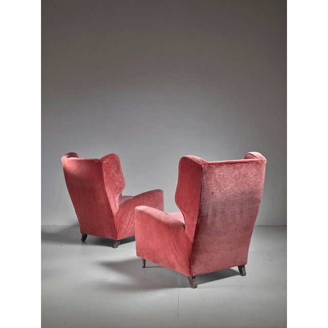 Paolo Buffa Pair of Soft Coral Red Wingback Lounge Chairs, Italy, 1940s - Image 6 of 6