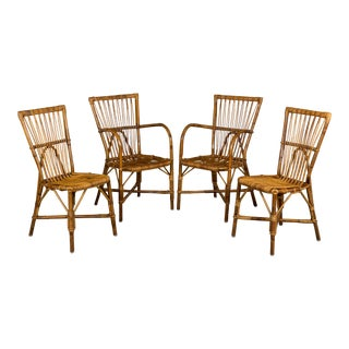 Vintage Mid Century French Riviera Rattan Dining Chairs- Set of 4 For Sale