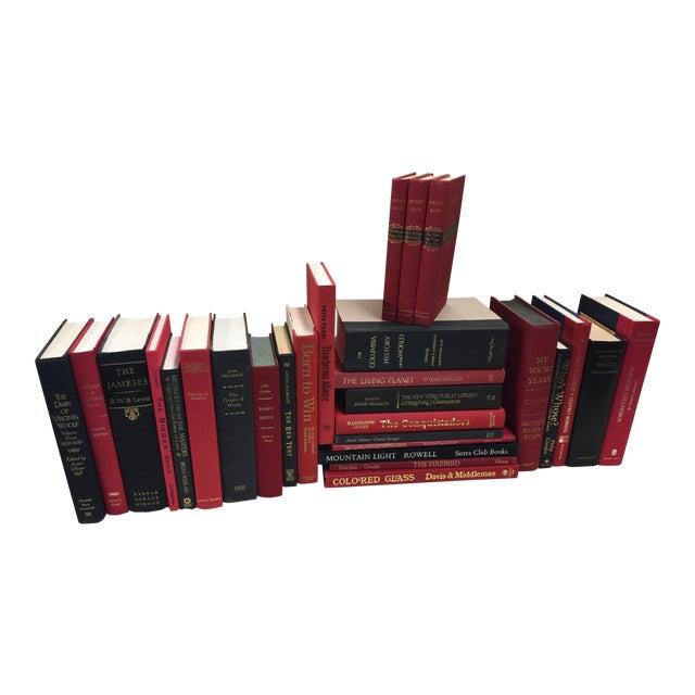 Red & Black Book Set Decorative 28 Book Lot For Sale