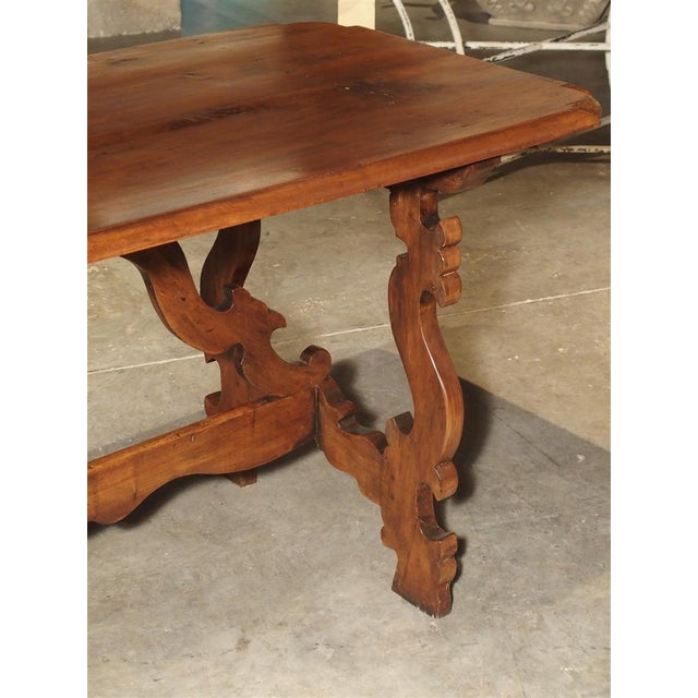 Italian 19th Century Tuscan Walnut Table With Shaped Wooden Stretchers For Sale - Image 3 of 13