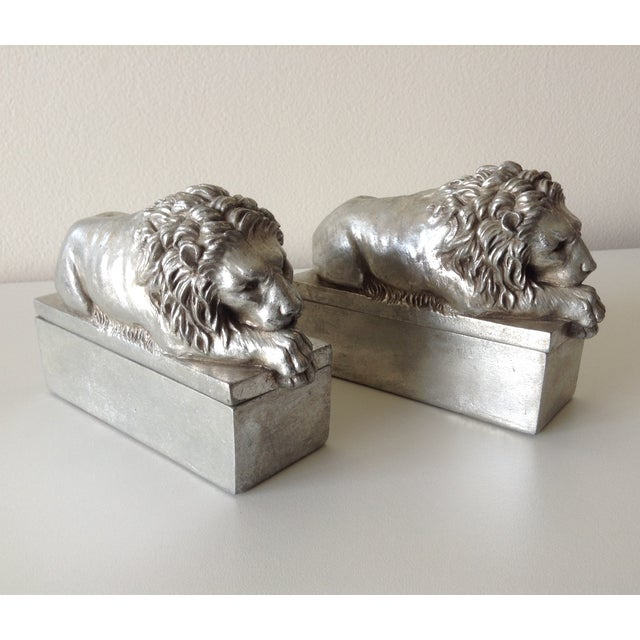 Silver Leaf Lion Lidded Boxes - Pair - Image 3 of 8