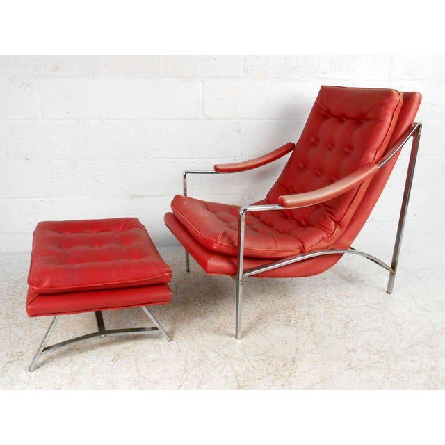 Vintage Mid-Century Tufted Armchair and Ottoman - Image 3 of 7