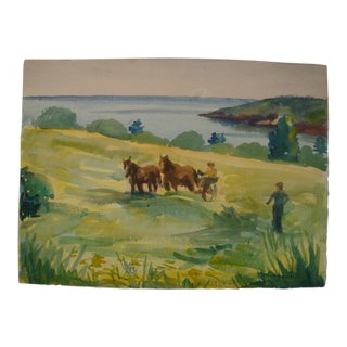 1937 Watercolor Painting Horses in Farm Field Landscape, Listed Artist For Sale