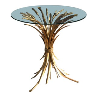 Vintage Petite Sheaf of Wheat Side Table / Cocktail Table For Sale