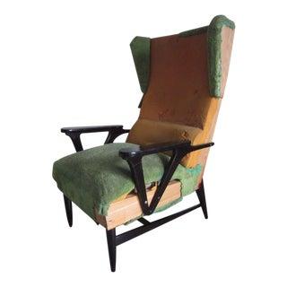 Pair of Italian Mid-Century Modern Wingback Lounge Chairs Attr. Carlo Mollino