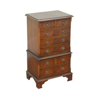Chippendale Style English Flame Mahogany Diminutive Jewelry Chest on Chest