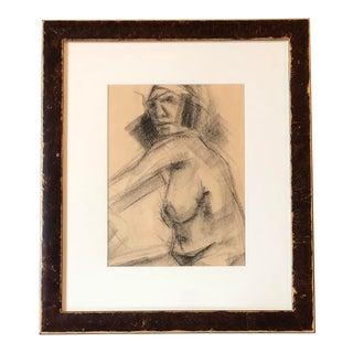 Original Vintage Charcoal Female Nude Study Sketch For Sale