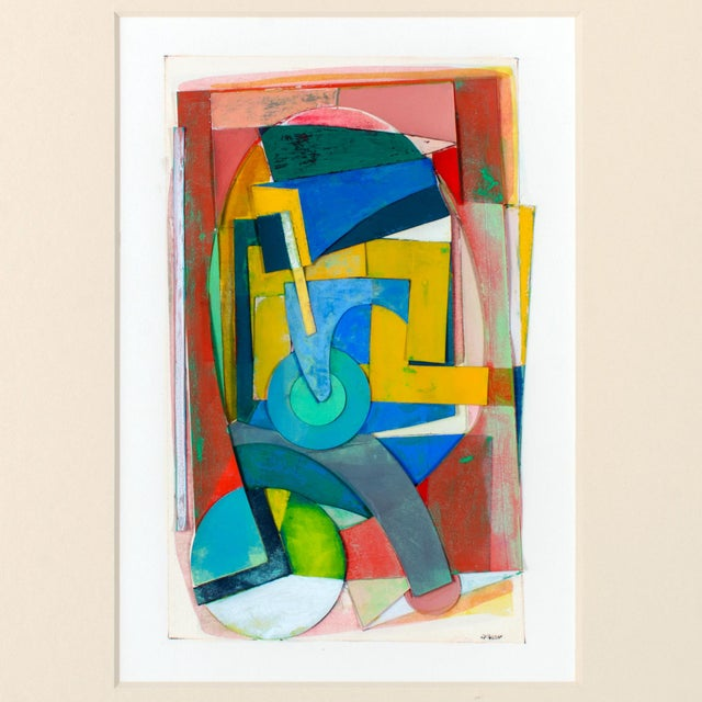 Frederick Lynch (American, 1935-2016) Offered is a gouache collage of layered cut-out shapes on paper. It is framed under...