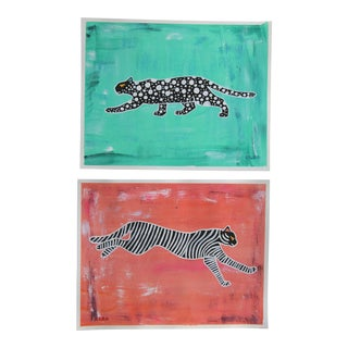 Leopard Tiger Abstract Pair Chinoiserie Paintings by Cleo Plowden For Sale