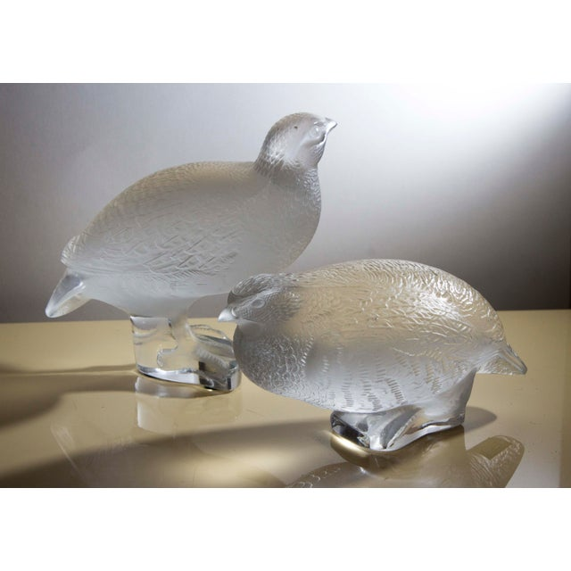 Traditional Lalique Crystal Partridge Figurines - Pair For Sale - Image 3 of 4