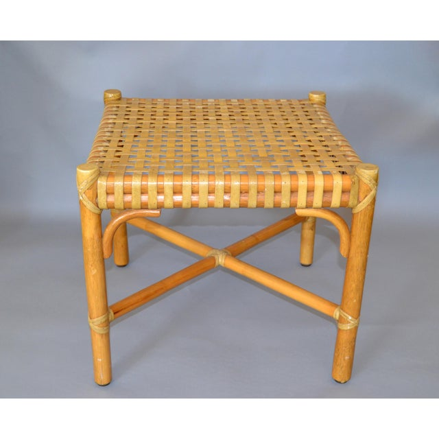 McGuire Mid-Century Modern Bamboo and Hand-Woven Leather Top Side Table / Stool For Sale - Image 12 of 13