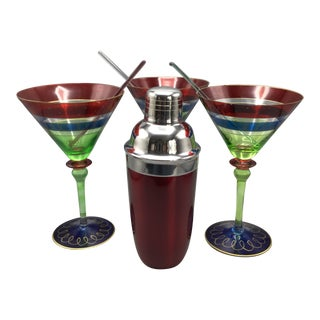 3 Vintage Hand Painted Swirl Martini Glasses With Red Metal Shaker and 3 Glass Swizzle Sticks- Group of 7 For Sale