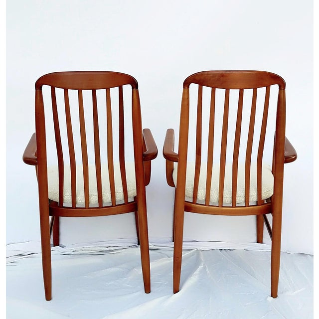 1960s Danish Modern Benny Linden Walnut Arm Chairs - a Pair For Sale - Image 4 of 11