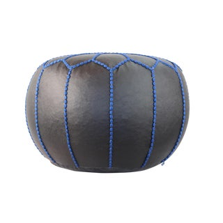 Stuffed Black Vegan Leather Pouf With Blue Trim For Sale