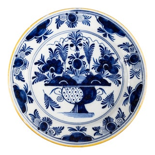 Antique 18th Century Dutch Delft Floral Charger For Sale