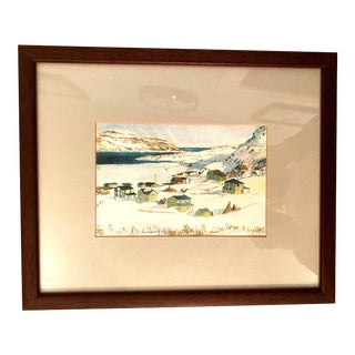 Winter Scene of a Lakeside Nordic Town Watercolor Painting, Framed For Sale