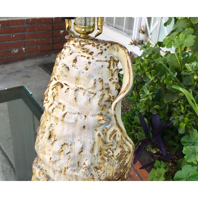 Vintage Ceramic Glazed Lamp For Sale - Image 5 of 5