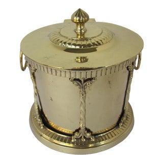 Round Brass Decorative Box/Planter For Sale