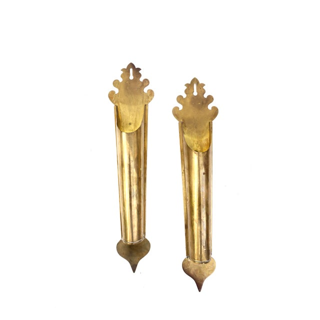 L O V E ▫️ A T ▫️ F I R S T ▫️S I G H T! GORGEOUS! GORGEOUS! GORGEOUS! This pair of vintage solid brass wall mount...