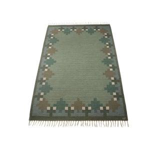 """Vintage Ulla Parkdah Flat Weave Rug Signed Up - 7'11"""" X 5'5"""" For Sale"""