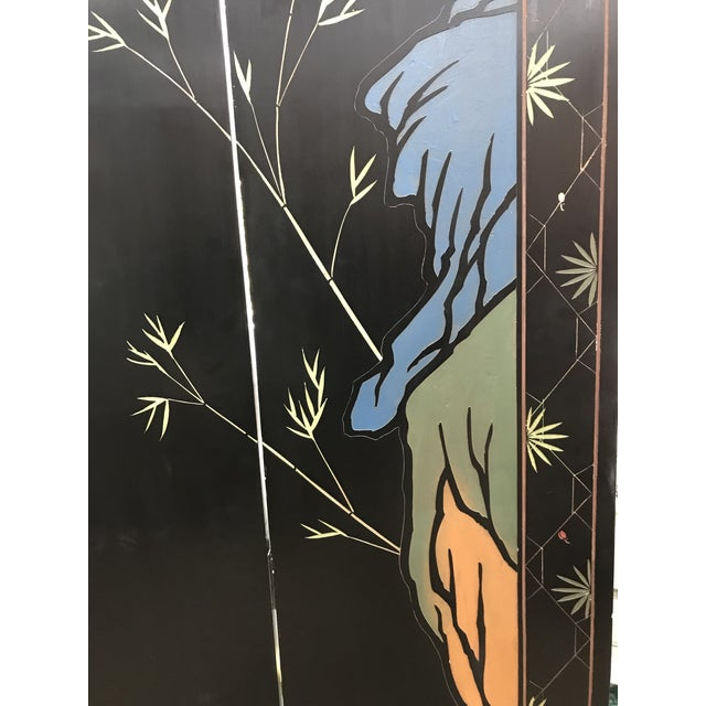 1980s Maitland-Smith Eight Panel Asian Lacquered Wood Screen Room Divider For Sale - Image 11 of 13