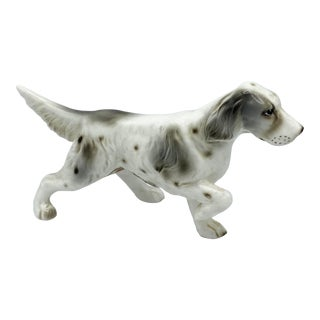 Mid Century Japanese Porcelain Gray and White English Setter Dog For Sale