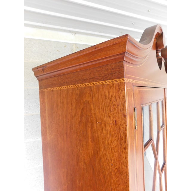 "Biggs Federal Hepplewhite Style 1Pc Mahogany Banded Cabinet 90""h X 40""w For Sale - Image 10 of 13"