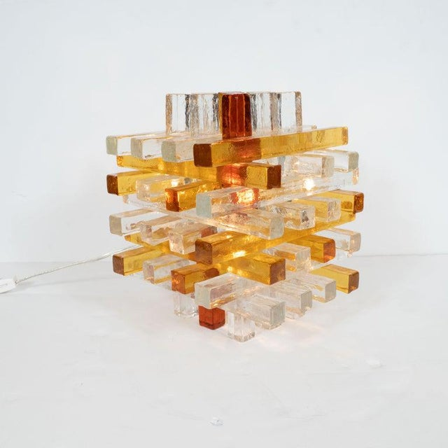 Orange Mid-Century Modern Cubist Veronese Amber Hued Glass Table Lamp by Poliarte For Sale - Image 8 of 13