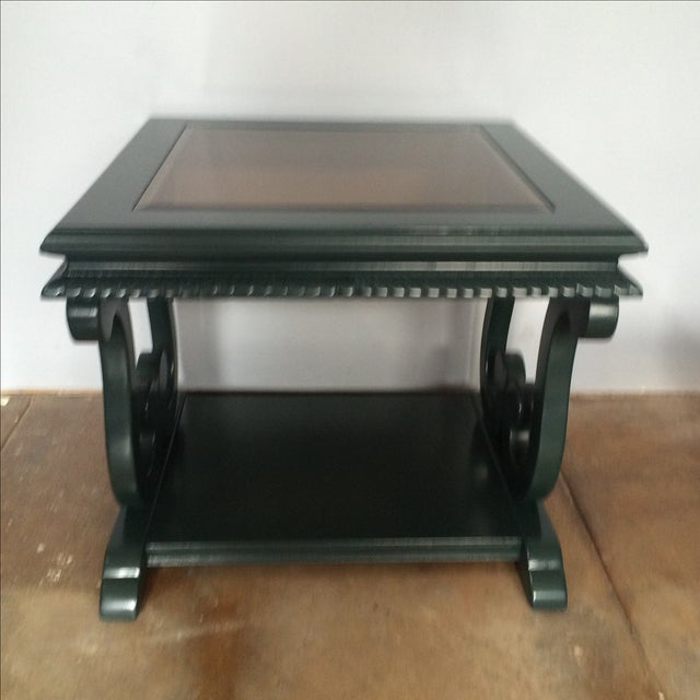 Walnut Harp-Shape Lacquer Side Tables - A Pair For Sale - Image 7 of 10