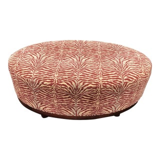 Mid Century Modern Red Zebra Print Ottoman For Sale