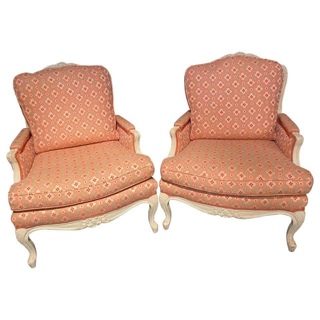 Louis XVI Painted Bergère or Lounge Chairs, Scalamandre Upholstery - a Pair For Sale - Image 13 of 13