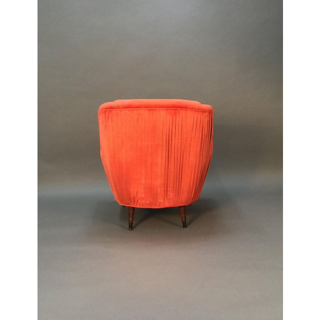 Mid Century Club Chairs With Velvet Pleat - Pair - Image 7 of 9