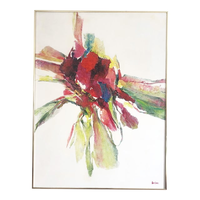 Large Vintage Abstract Paint and Paper Mache on Canvas by Nettie Hardman For Sale
