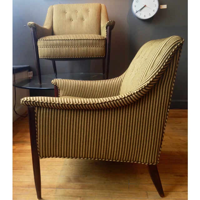 Mid-Century Modern Cashmere & Wool Striped Chairs - Pair For Sale - Image 3 of 3