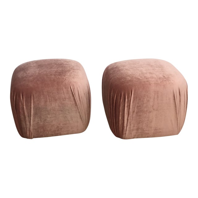 Pair of Vintage Ottomans Poufs in Style of Karl Springer in Rose Quartz Silk Velvet For Sale